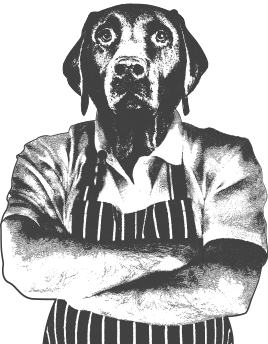 Butcher with a dog's head.